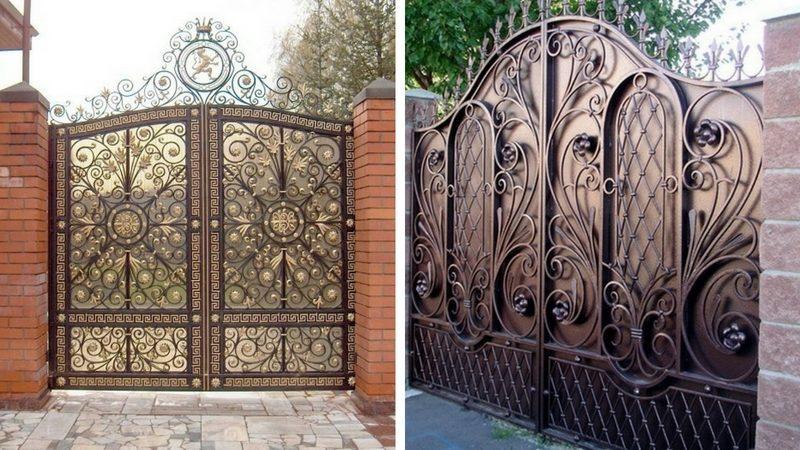 Кованные ворота в загородном доме