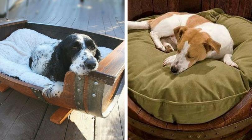 Кровать для собаки из бочки