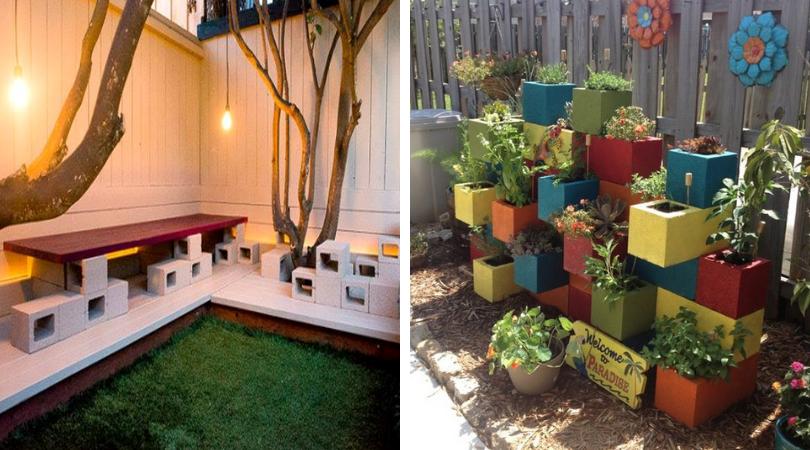 использование шлакоблока в дизайне дома и сад