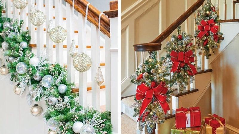 Новогоднее украшение лестницы