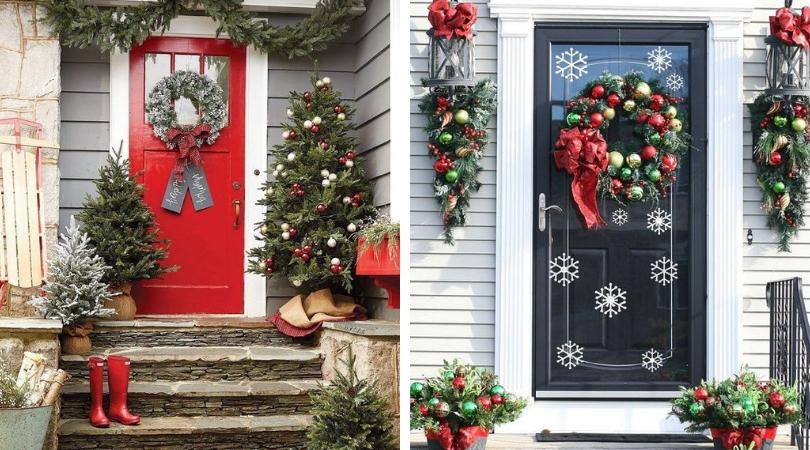 Украшение входной двери на Новый Год