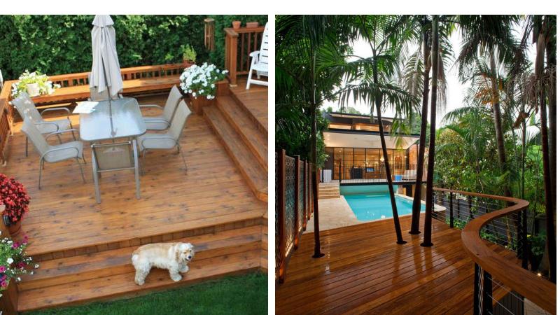 деревянная площадка загородного дома для отдыха