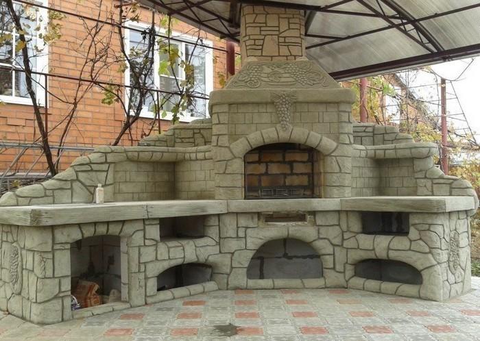 уличная печь с мангалом
