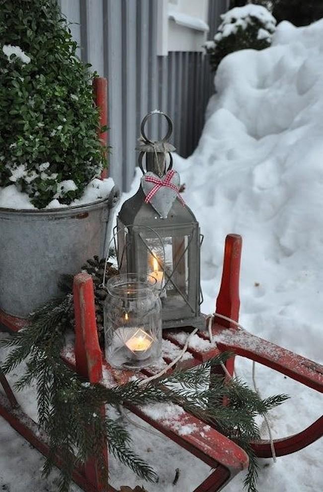 украшение двора на новый год
