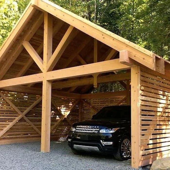 навес для машины из дерева